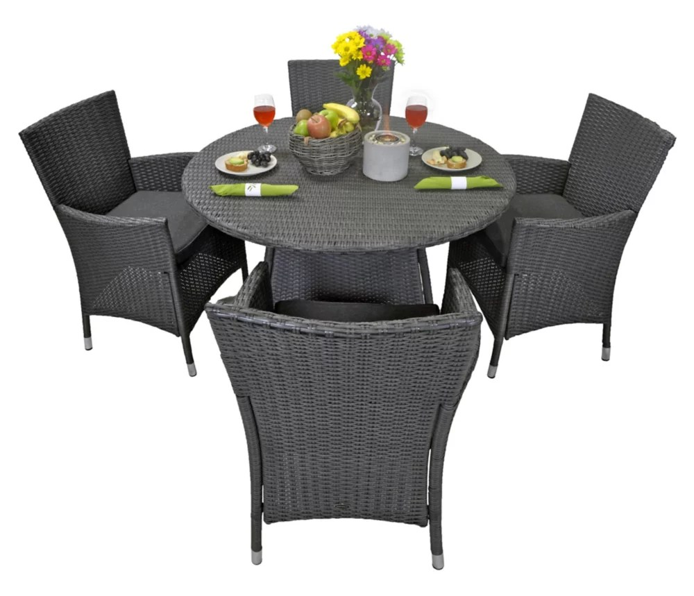 vanessa 5 piece round patio dining set in matte black wicker with dark grey cushions