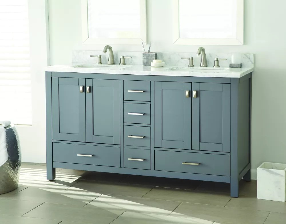 Home Decorators Collection Franklin Square 60 Inch W 5 Drawer 4 Door Vanity In Grey With M The Home Depot Canada