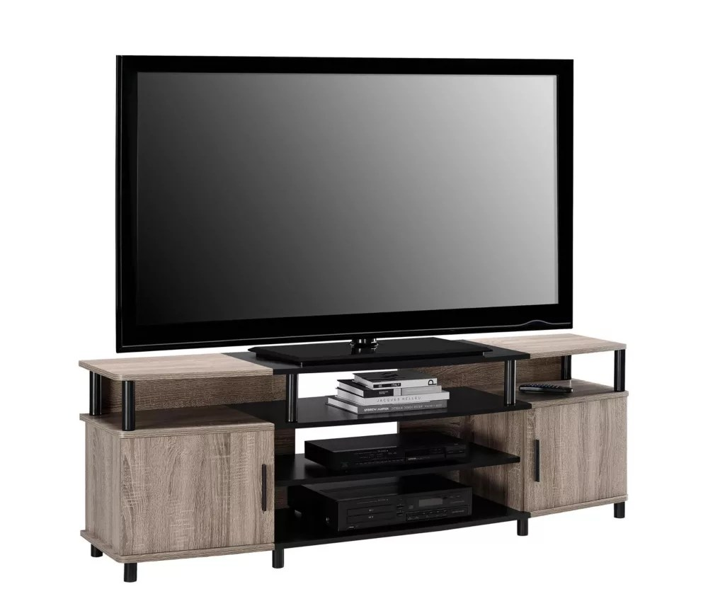 carson 135 lb capacity entertainment console for 70 inch tvs in sonoma oak and black