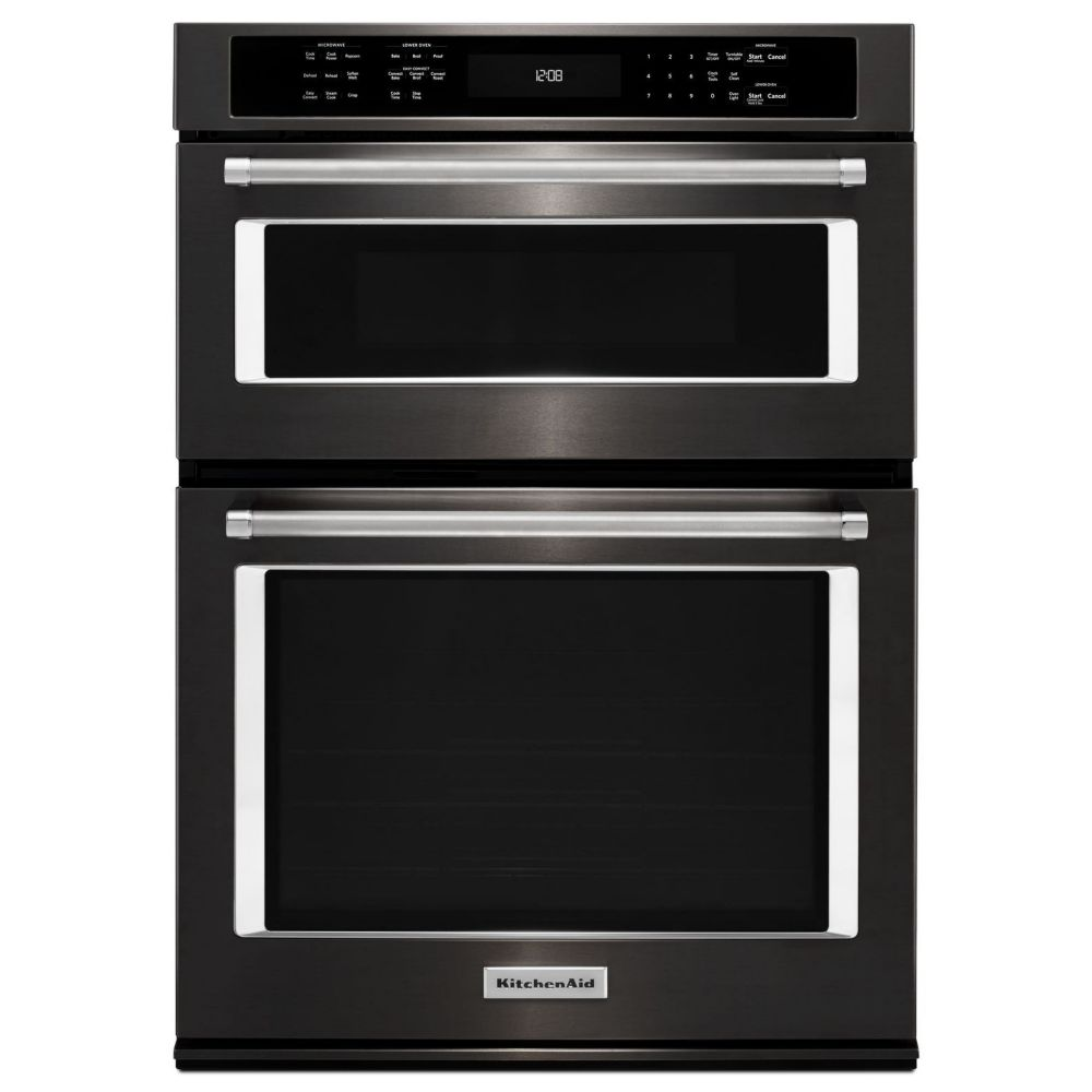 27 inch 4 3 cu ft double electric wall oven microwave with convection in black stainless steel