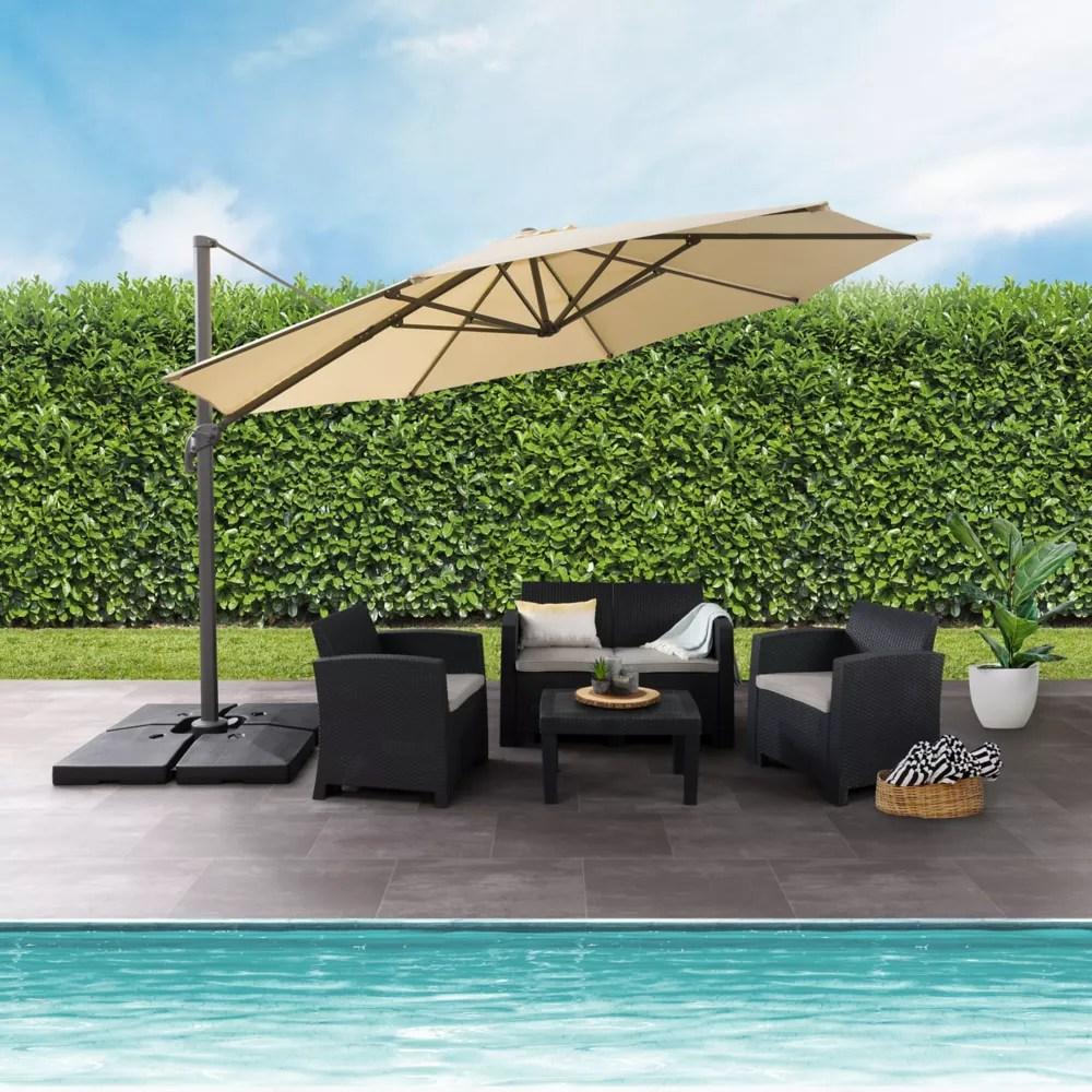 11 5 ft uv resistant deluxe offset warm white patio umbrella