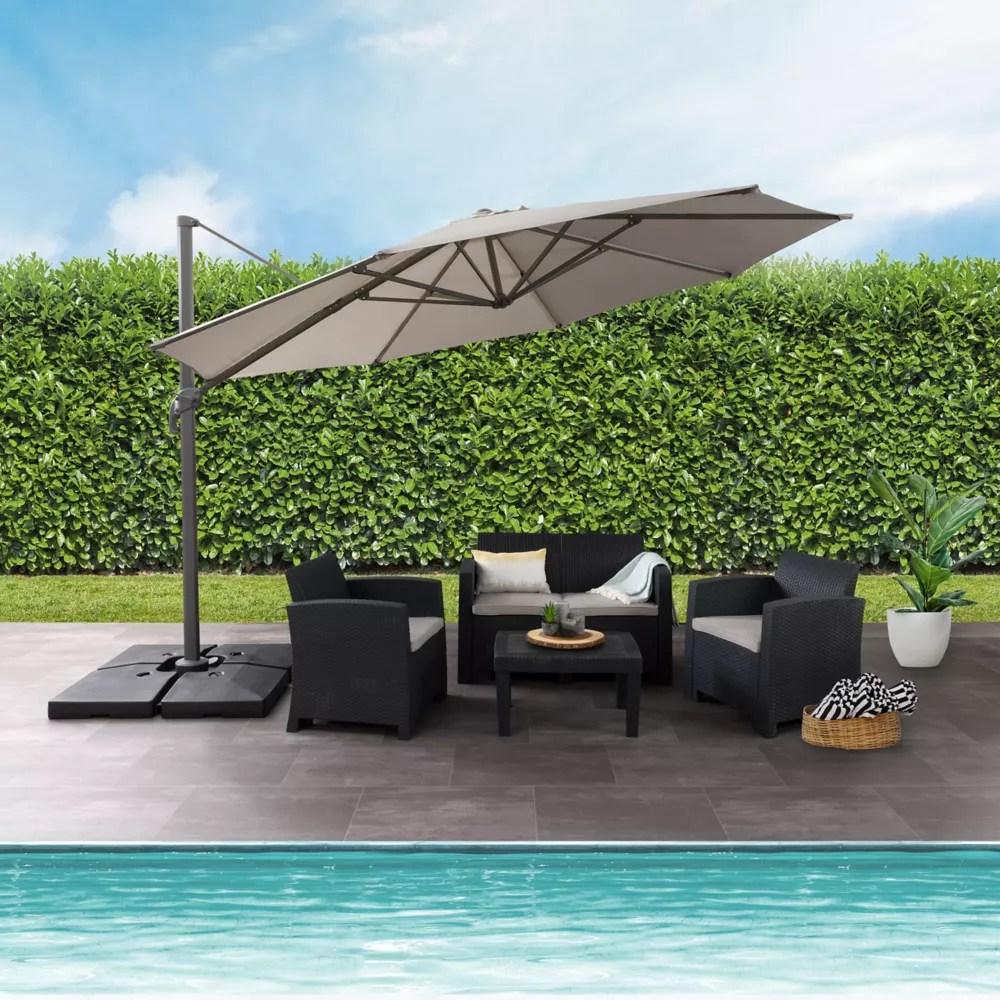 11 5 ft uv resistant deluxe offset sand grey patio umbrella