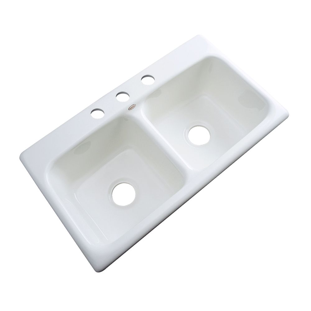 brighton 33 inch double bowl white kitchen sink
