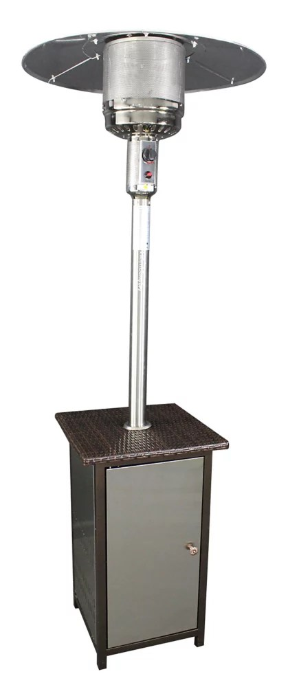 stainless steel propane patio heater with wicker stand