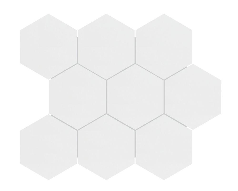 4 inch metro white matte hexagon porcelain mosaics