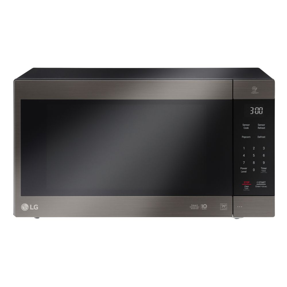 2 0 cu ft counter top microwave oven with neochef smart inverter in black stainless steel