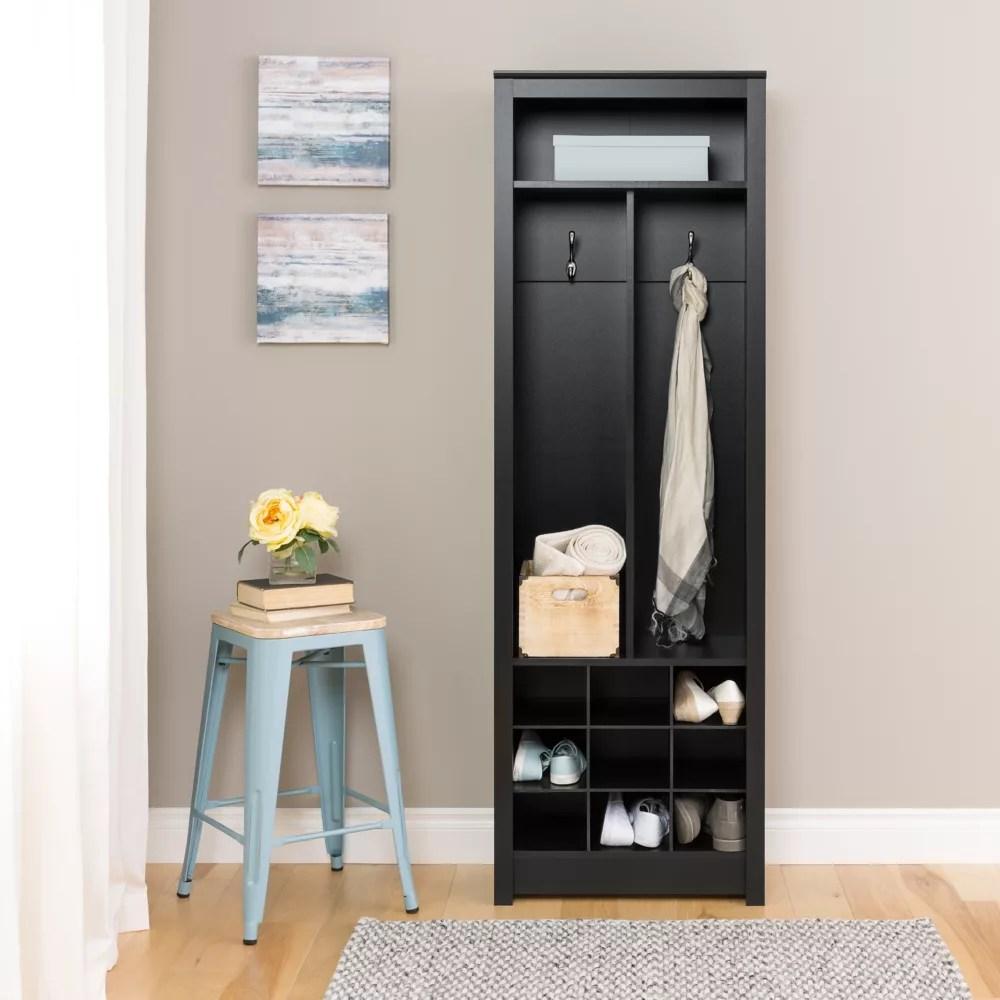 meuble de rangement compact pour entrees avec compartiments pour chaussures noir