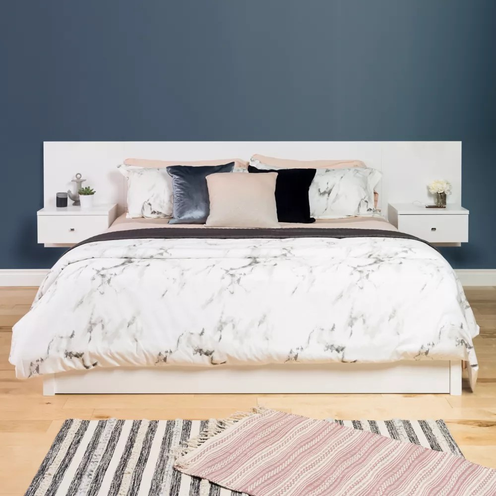 floating king headboard with nightstands white