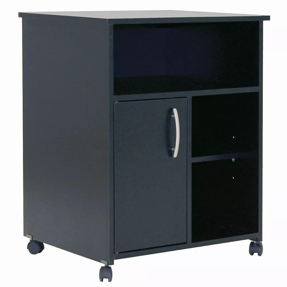 meuble pour micro ondes sur roulettes axess noir solide