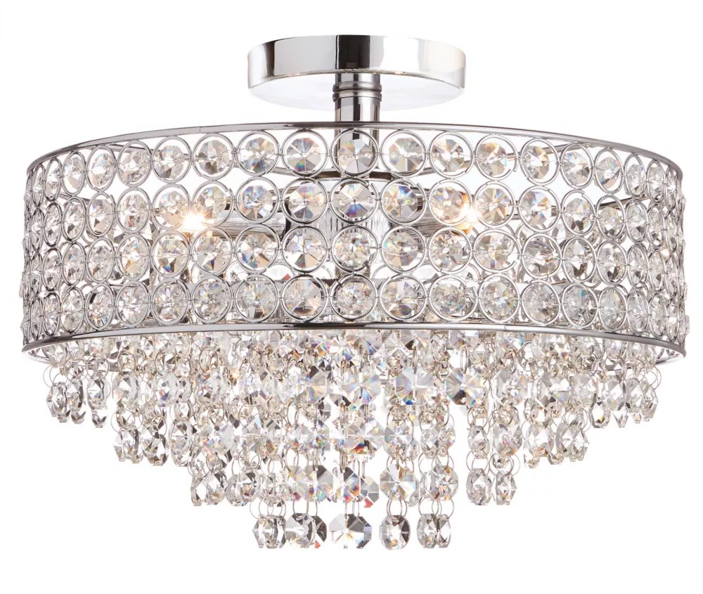 3 light chrome semi flushmount ceiling light with crystal shade and accents