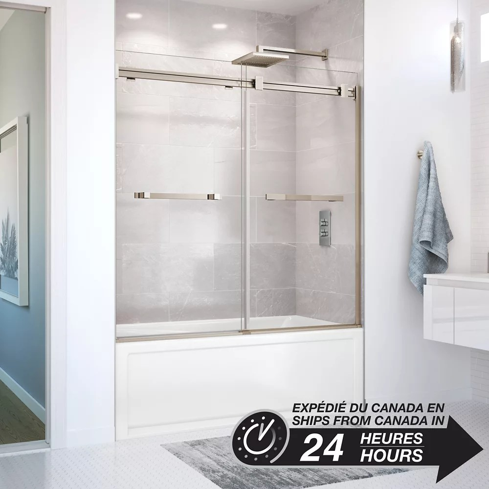 duel 56 59 x 55 1 2 po porte de baignoire coulissante sans cadre fini nickel brosse fonce avec verre clair