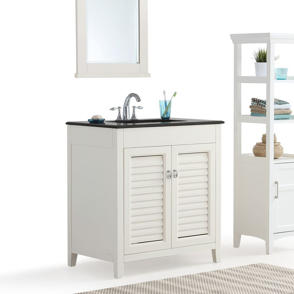 Simpli Home Adele 30 Inch Bath Vanity With Black Granite Top The Home Depot Canada
