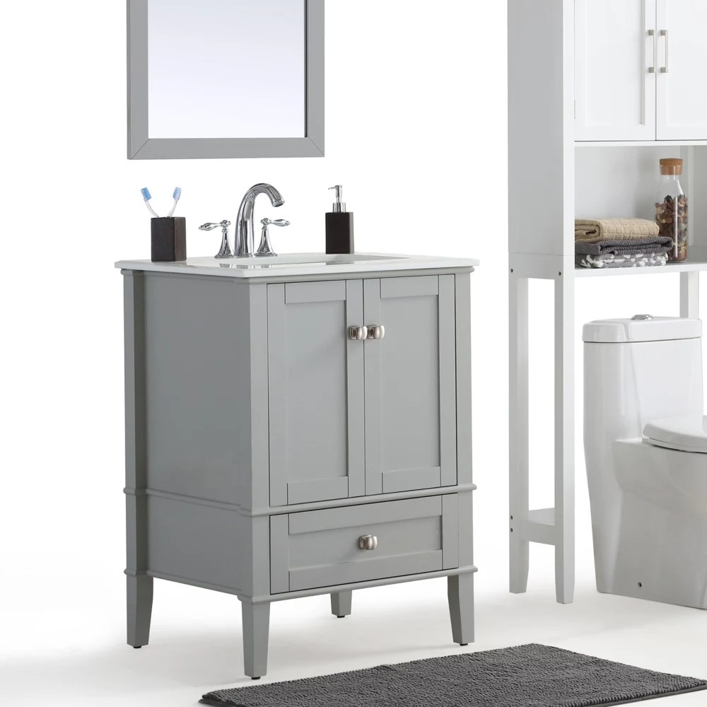 Simpli Home Chelsea 24 Inch Bath Vanity With White Quartz Marble Top The Home Depot Canada