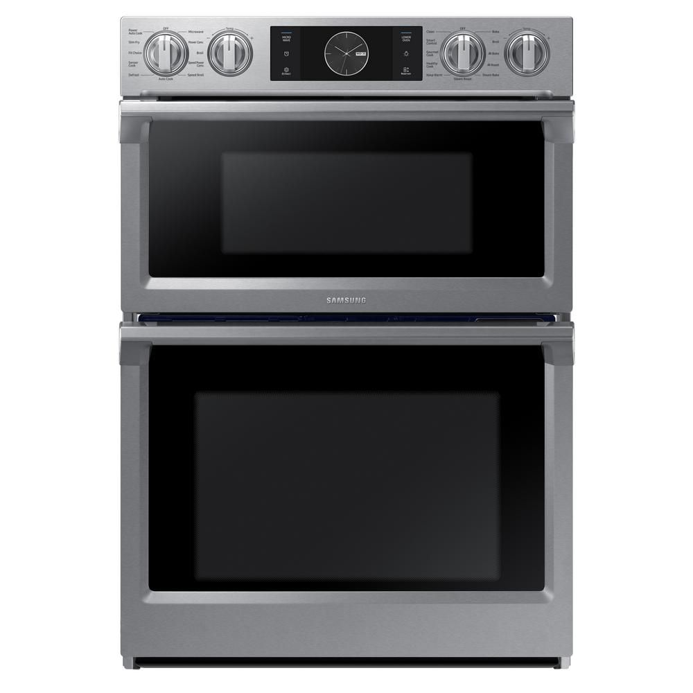 30 inch 5 1 cu ft double electric wall oven with built in microwave in stainless steel