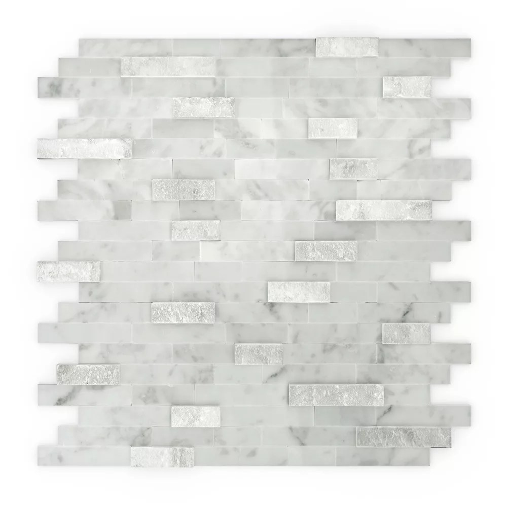 camarillo 11 77 inch x 11 57 inch marble self adhesive wall mosaic tile