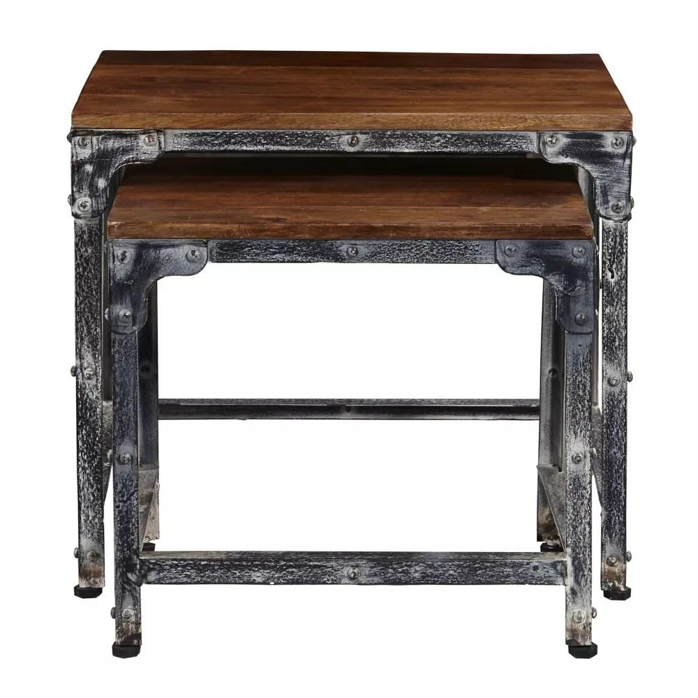 distressed wood metal nesting tables set of 2