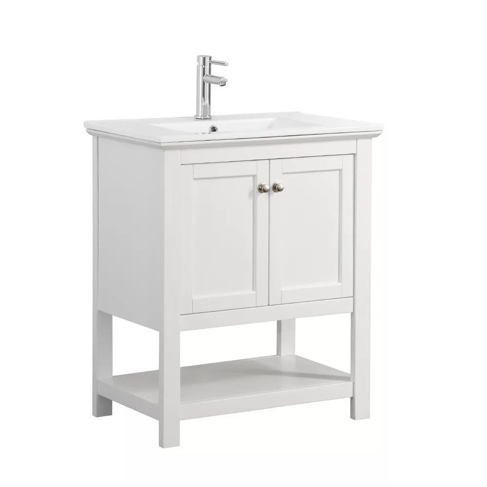 Fresca Bradford 30 In Bathroom Vanity In White With Ceramic Vanity Top In White The Home Depot Canada