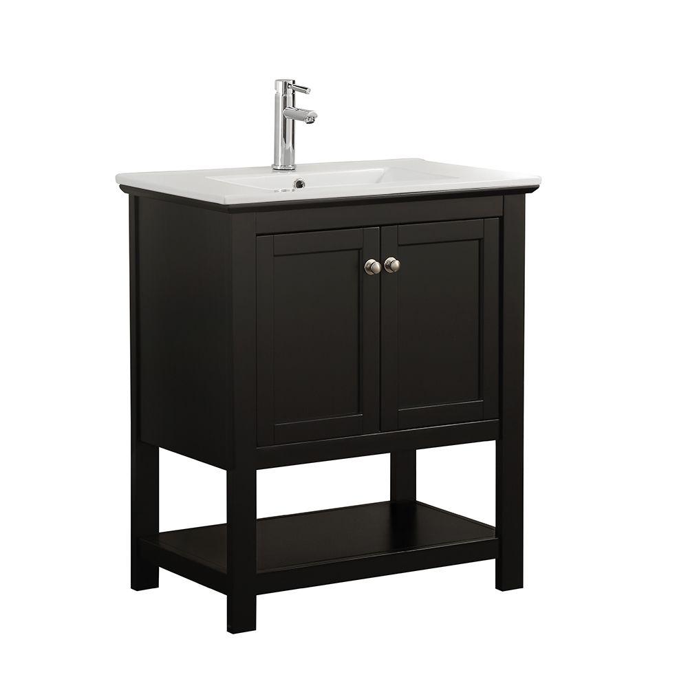 Fresca Bradford 30 In Bathroom Vanity In Black With Ceramic Vanity Top In White The Home Depot Canada