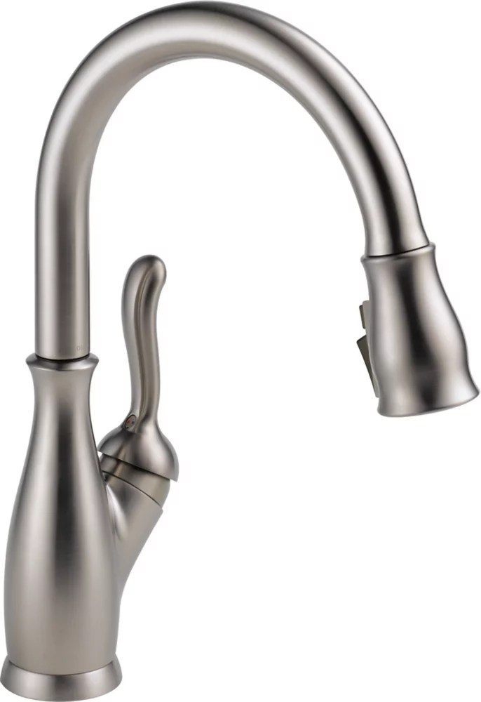 leland single handle pull down sprayer kitchen faucet with shieldspray in stainless steel