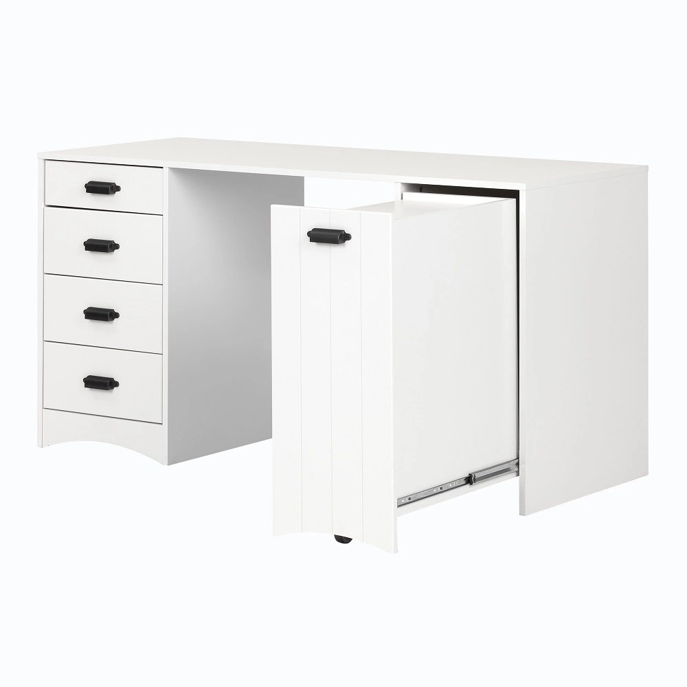 South Shore Artwork Sewing Craft Table With Storage Pure White The Home Depot Canada