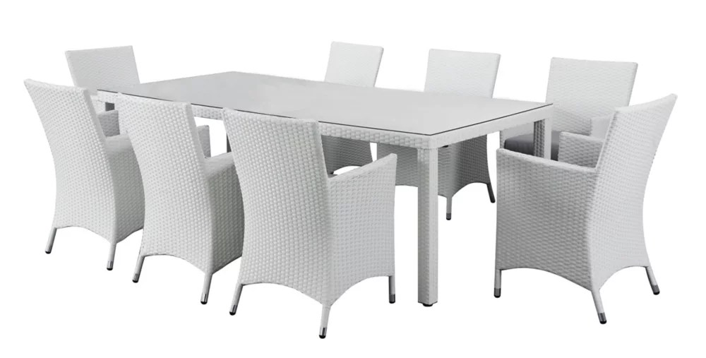 chiasso white 9 piece all weather wicker patio dining set with grey cushions