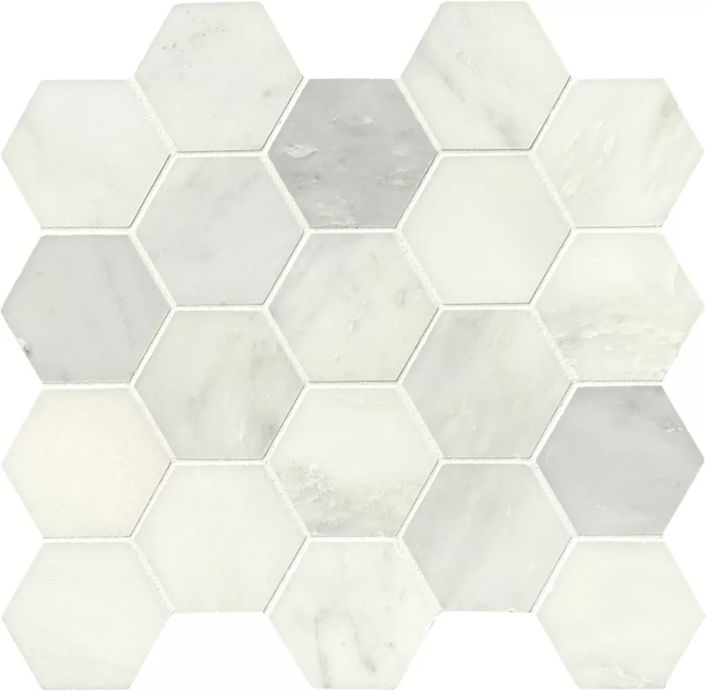 grecian white hexagon 12 inch x 12 inch polished marble mesh mounted mosaic tile 10 6 sq ft case