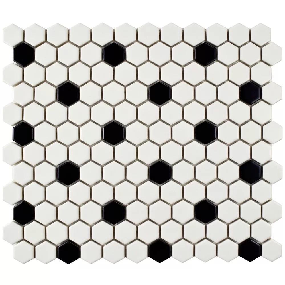 metro hex matte white w black dot 10 1 4 inch x 11 3 4 inch x 6mm porcelain mosaic tile 8 56 sf ca