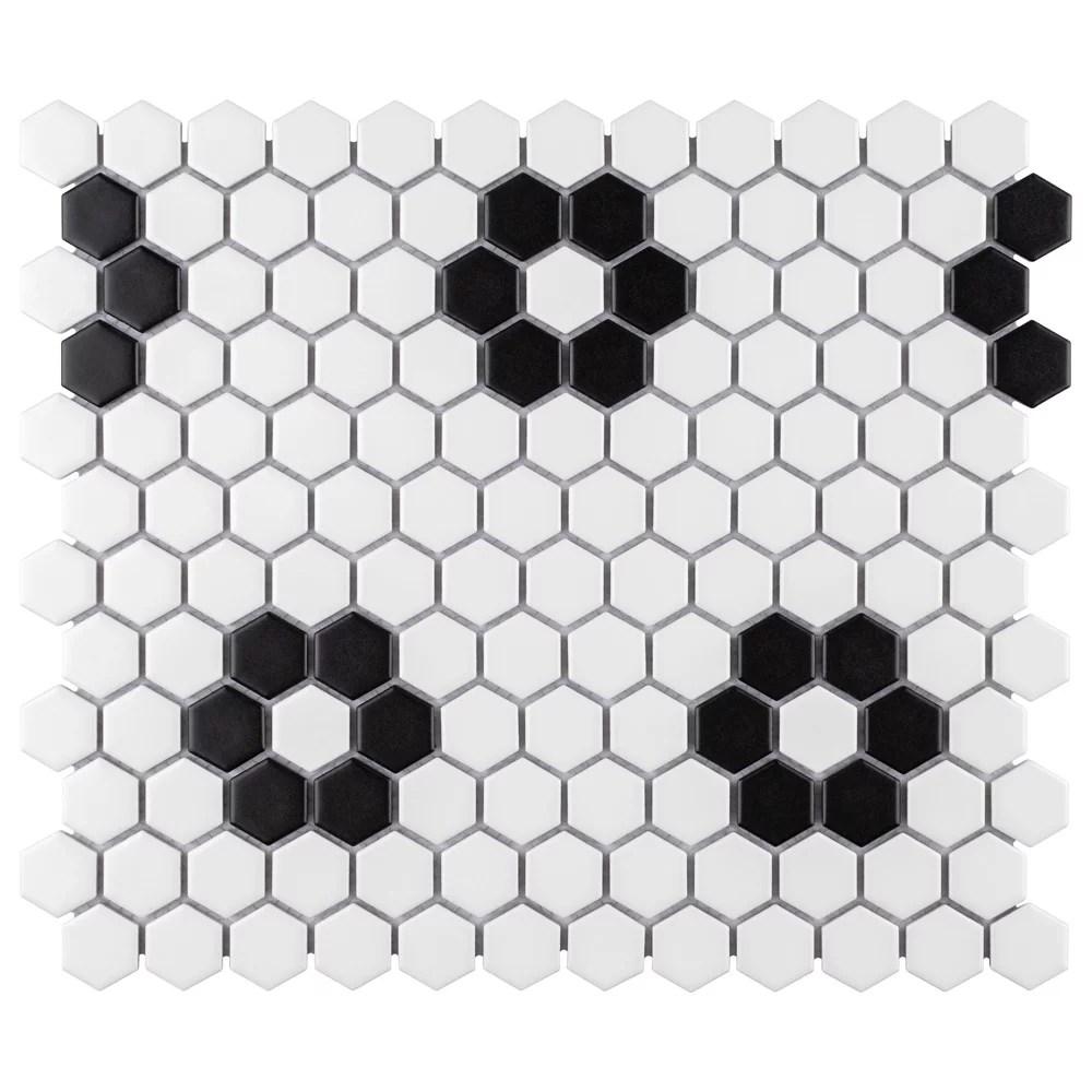 metro hex matte white w flower 10 1 4 inch x 11 3 4 inch x 5mm porcelain mosaic tile 8 56 sq ft ca