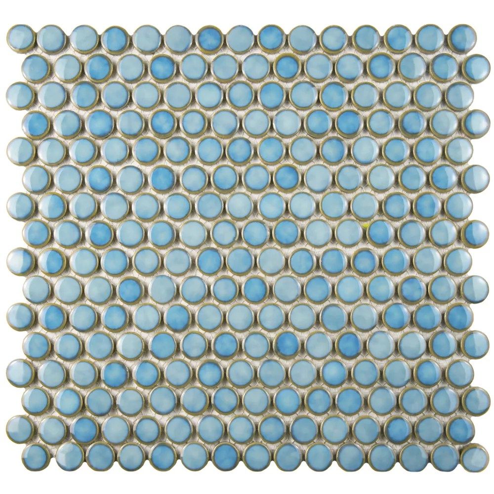 hudson penny round marine 12 inch x 12 5 8 inch x 5 mm porcelain mosaic tile 10 74 sq ft case
