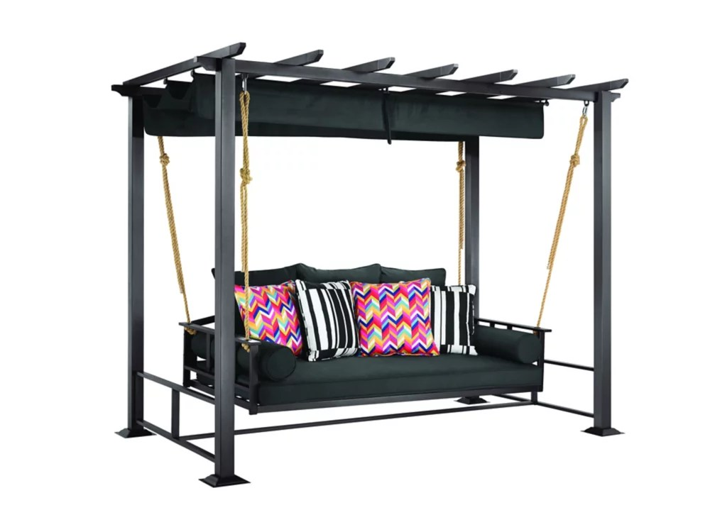 pacific landing steel aluminum swing with flat canopy