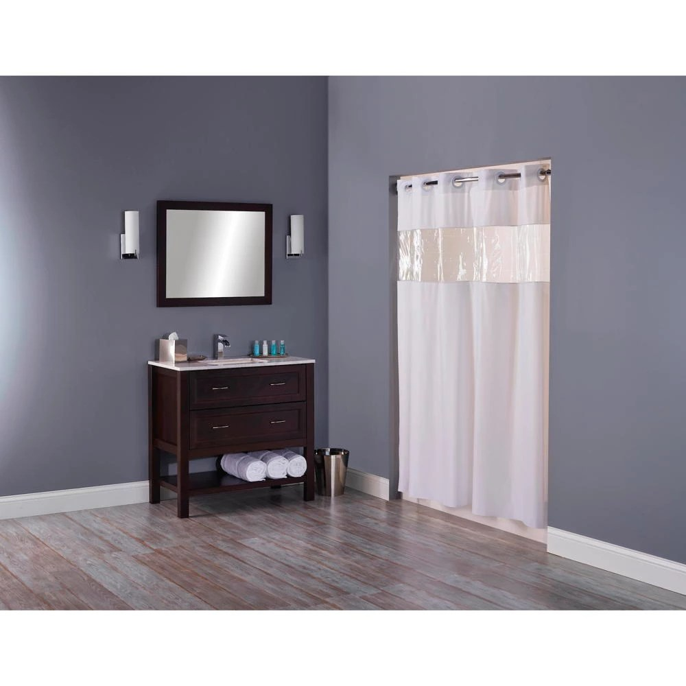 hookless shower curtain with clear window white