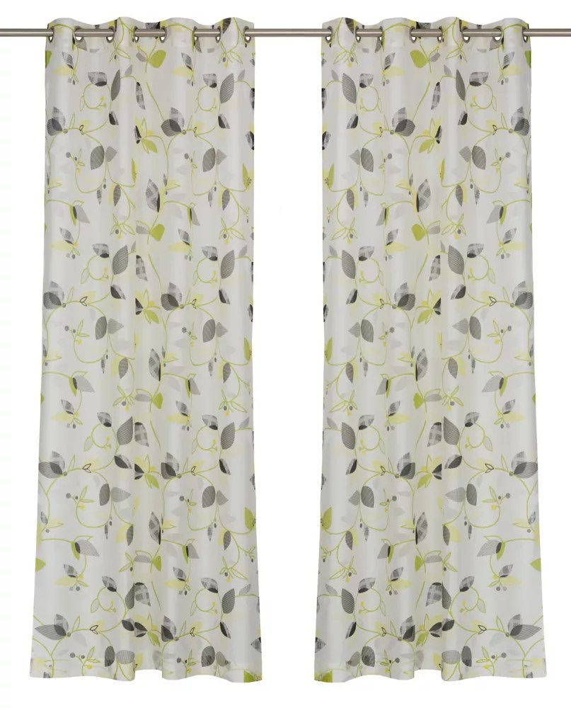 thyme une paire de rideaux voilage floraux a illets 52x95 po blanc gris vert