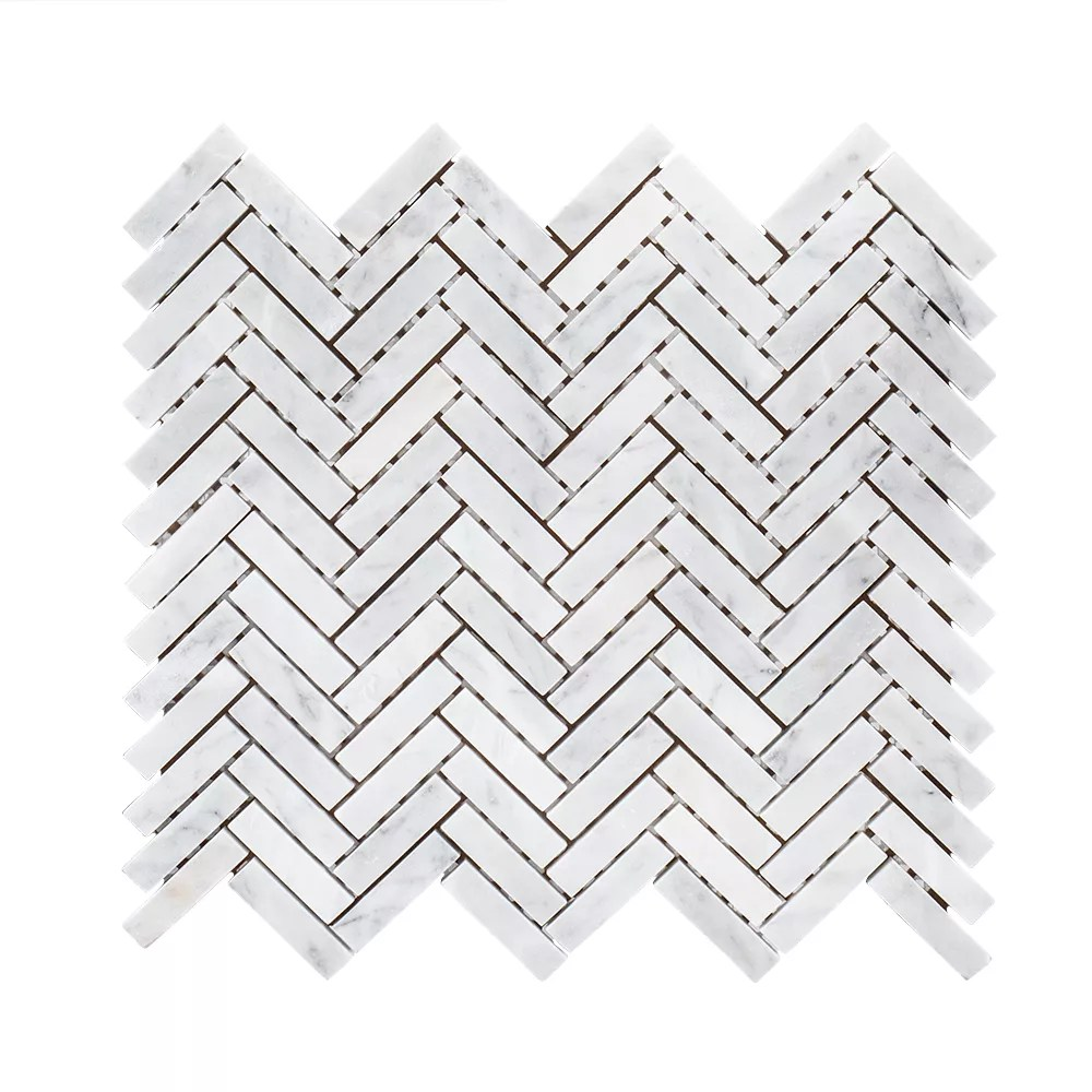 steamboat white herringbone 10 inch x 11 inch x 6 mm marble stone mosaic tile