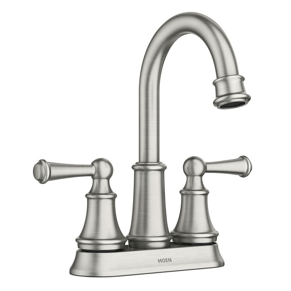 brecklyn 4 inch centerset 2 handle bathroom faucet in spot resist brushed nickel