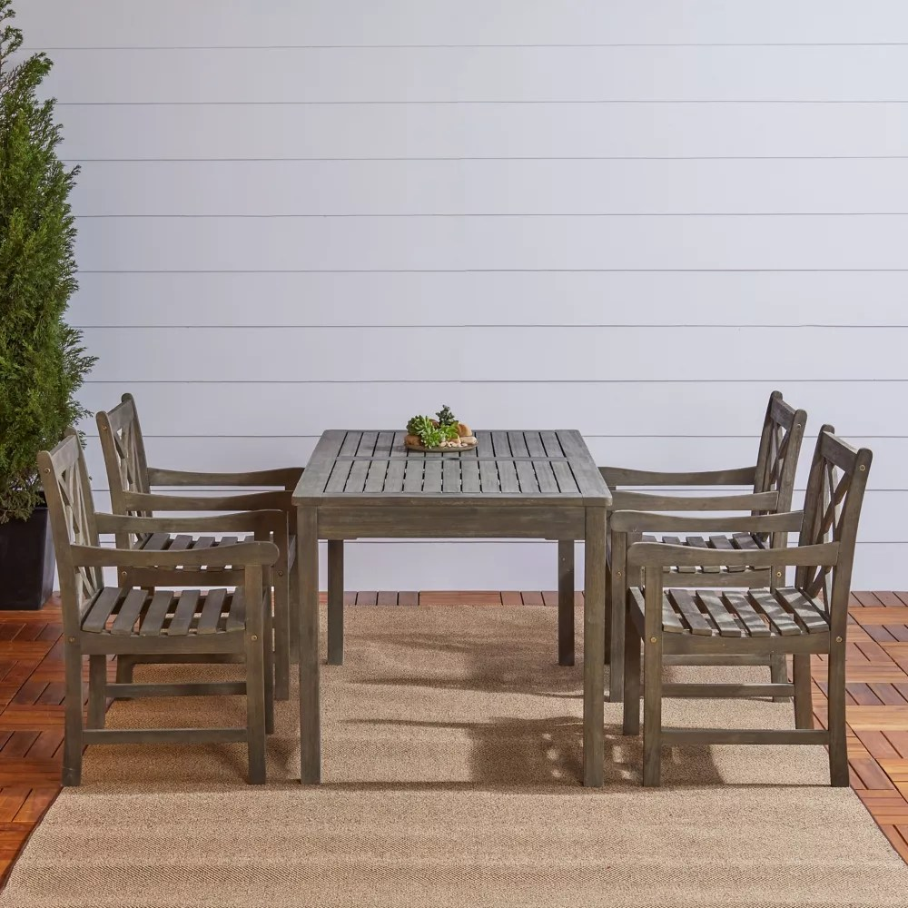 renaissance 5 piece wooden patio dining set in hand scraped finish