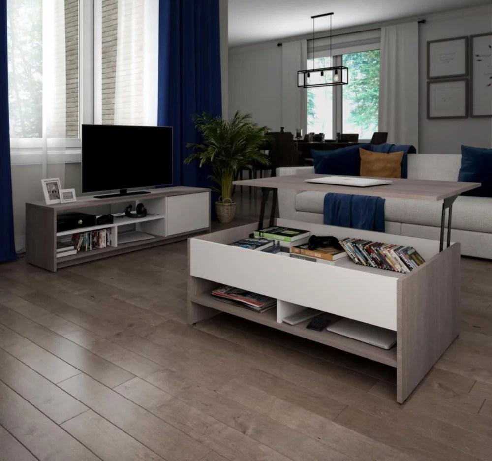 small space ensemble table a cafe avec surface mobile et meuble tele gris ecorce et blanc