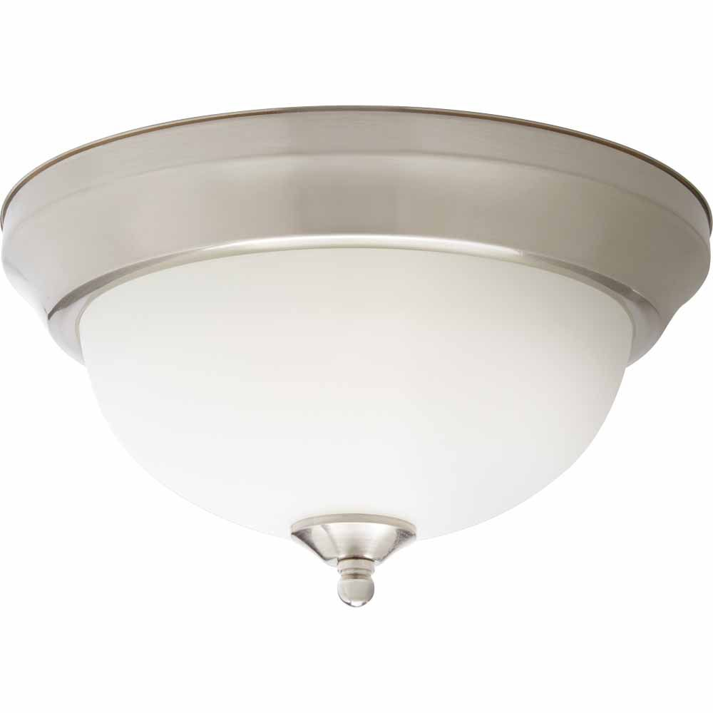 11 inch integrated led brushed nickel flushmount ceiling light with frosted glass shade