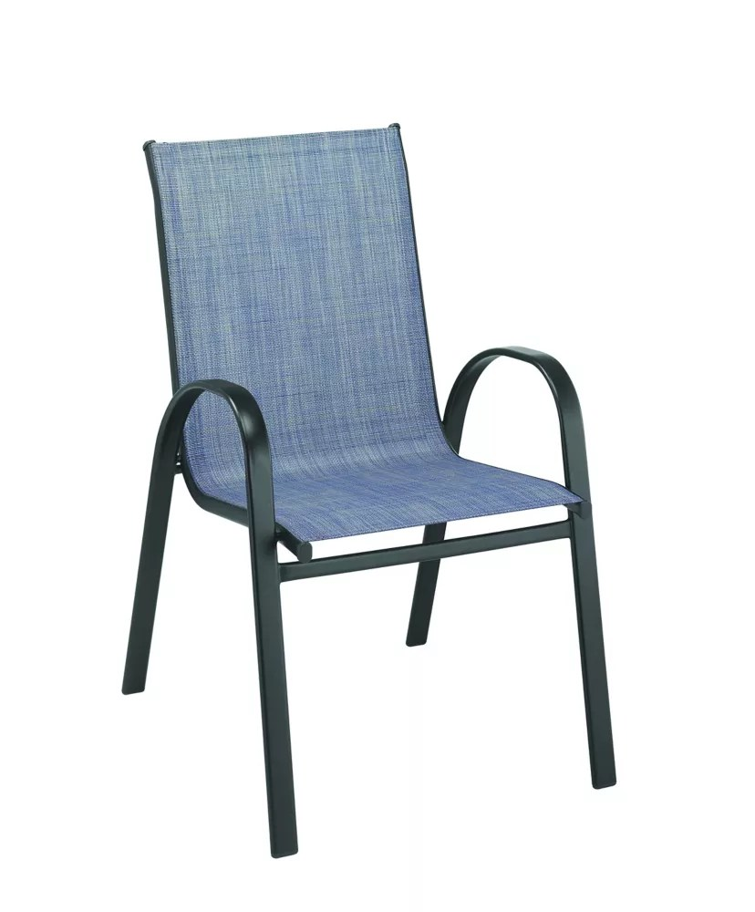 mix match sling patio dining stack chair in denim