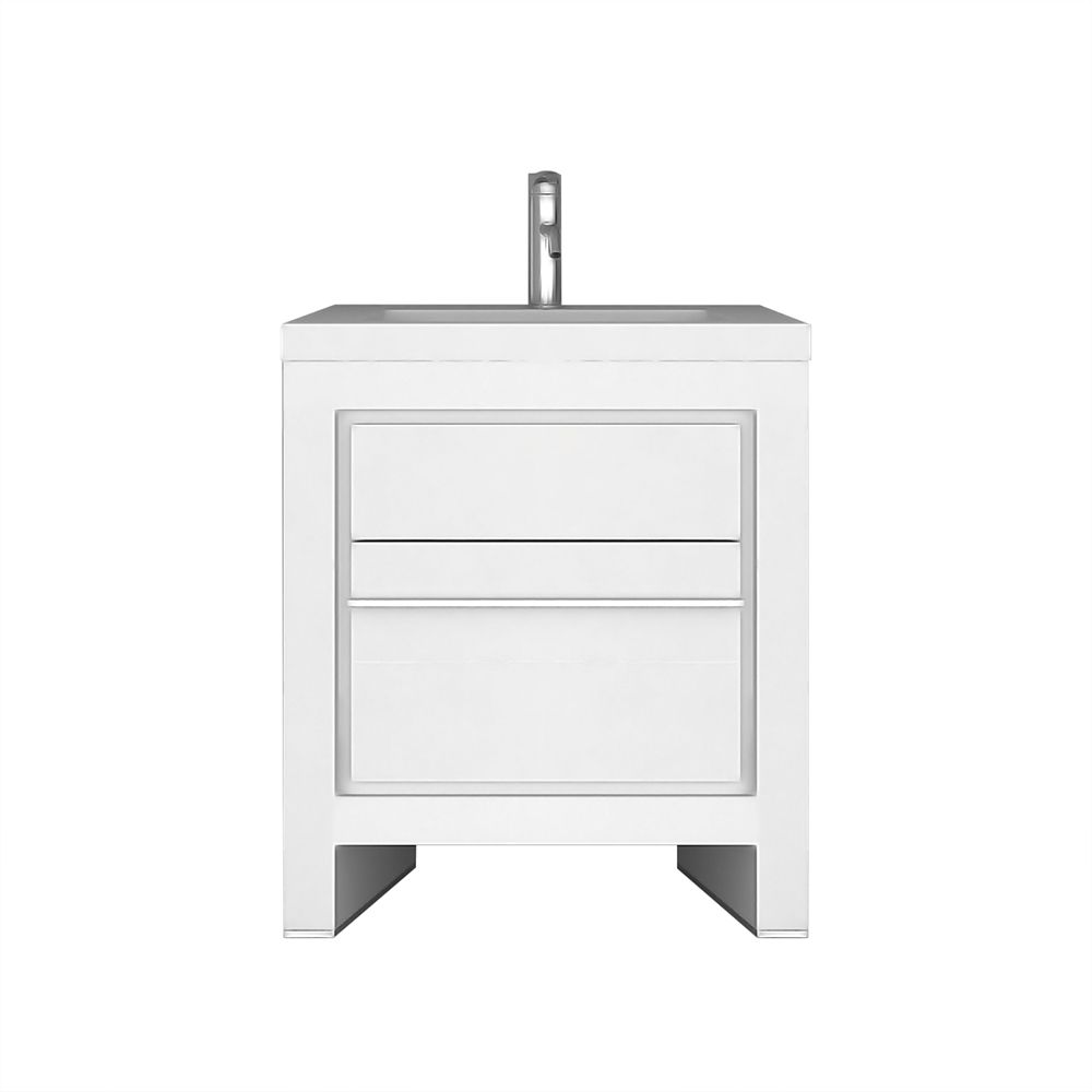Jade Bath Sloan 28 Inch Single Freestanding Modern White Bathroom Vanity With Basin The Home Depot Canada
