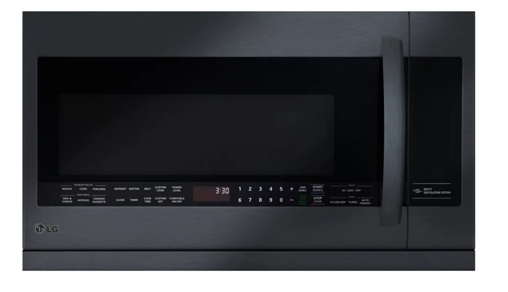 2 2 cu ft over the range microwave with slide out extendavent in matte black stainless steel with easyclean and sensor cooking