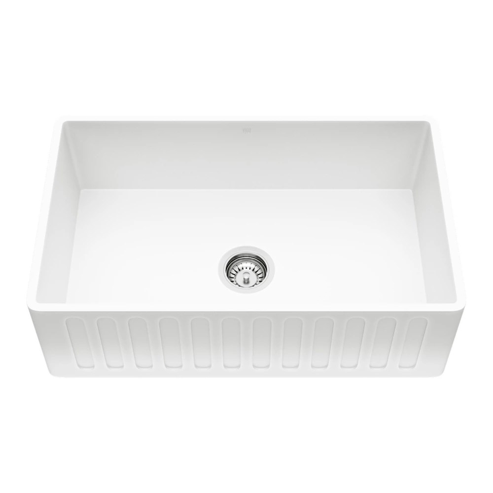 matte stone white composite 30 in single bowl reversible slotted farmhouse apron front kitchen sink with strainer