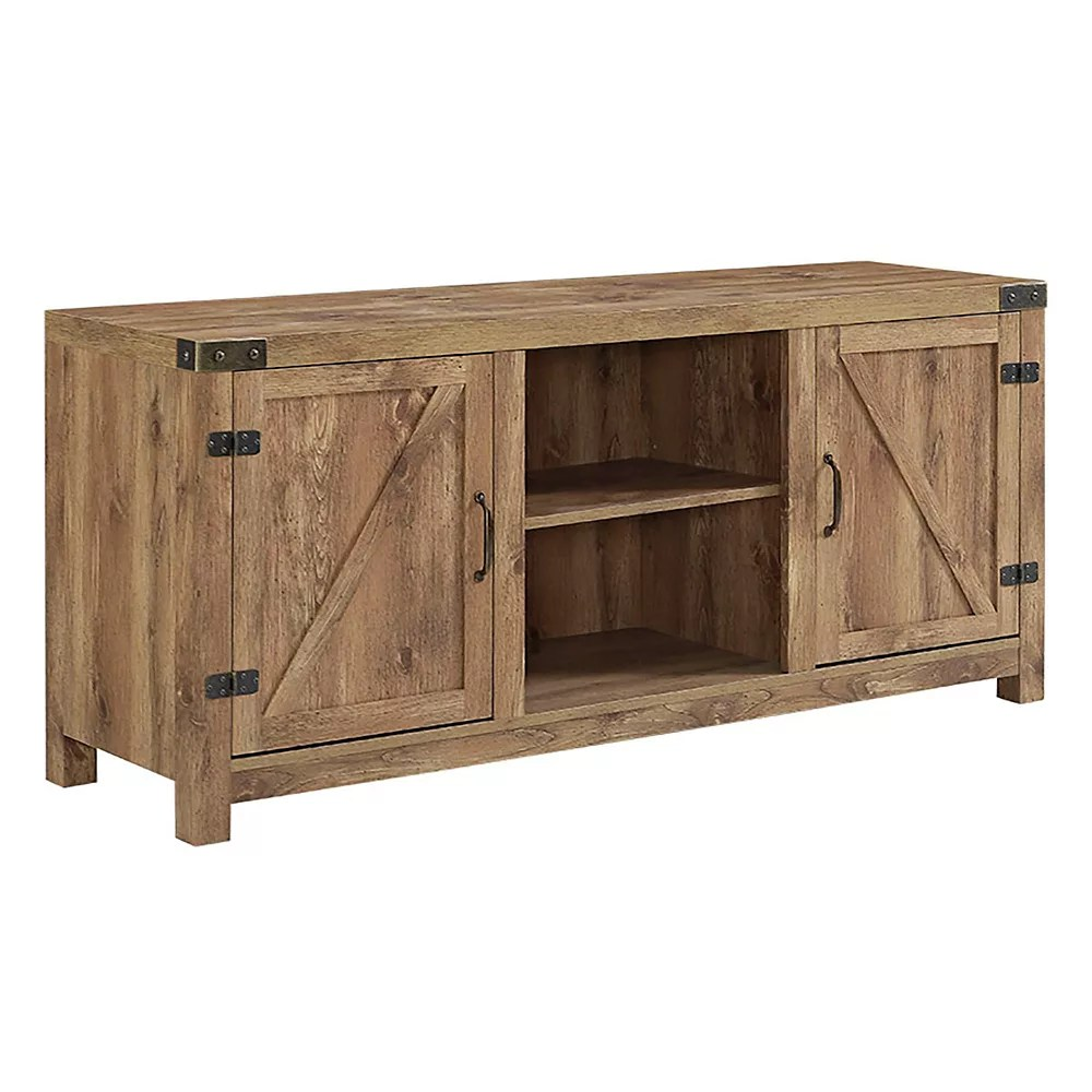 meuble tv cheminee porte de grange en bois rustique de 178 cm 58 po