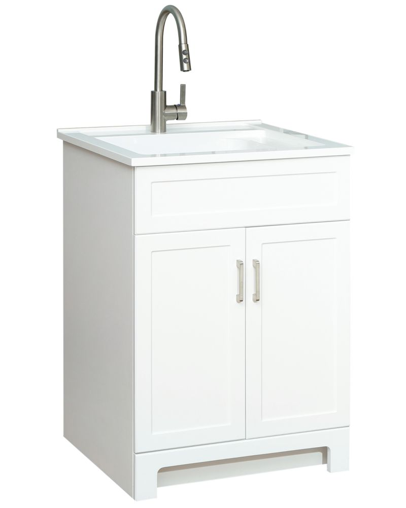 all in one 25 inch 2 door laundry cabinet with composite sink