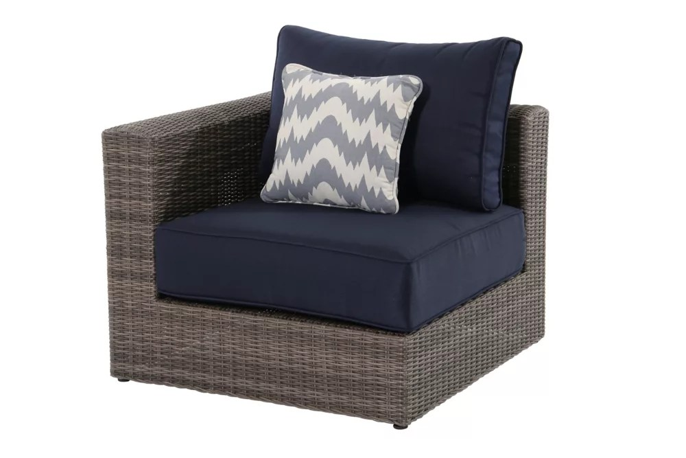 naples grey all weather wicker left right arm outdoor patio sectional chair with navy cushions