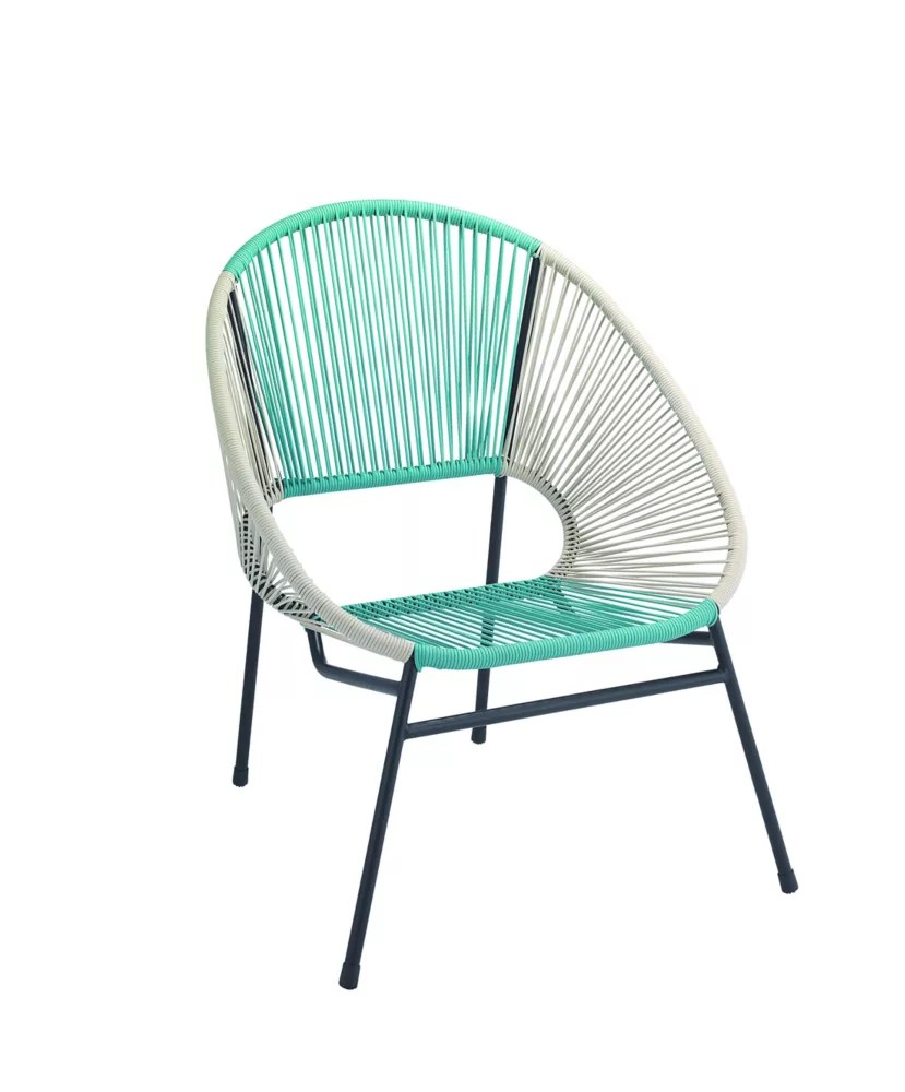 all weather wicker egg patio chair with steel frame in blue and white
