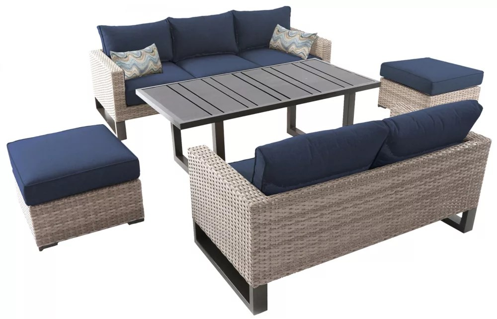 park heights 5 piece wicker outdoor patio deep seating set with dining height table and navy cushions