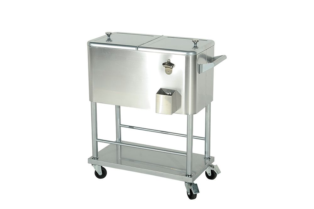 grant 80qt silver cooler cart