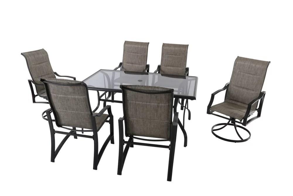 statesville 7 piece padded sling patio dining set