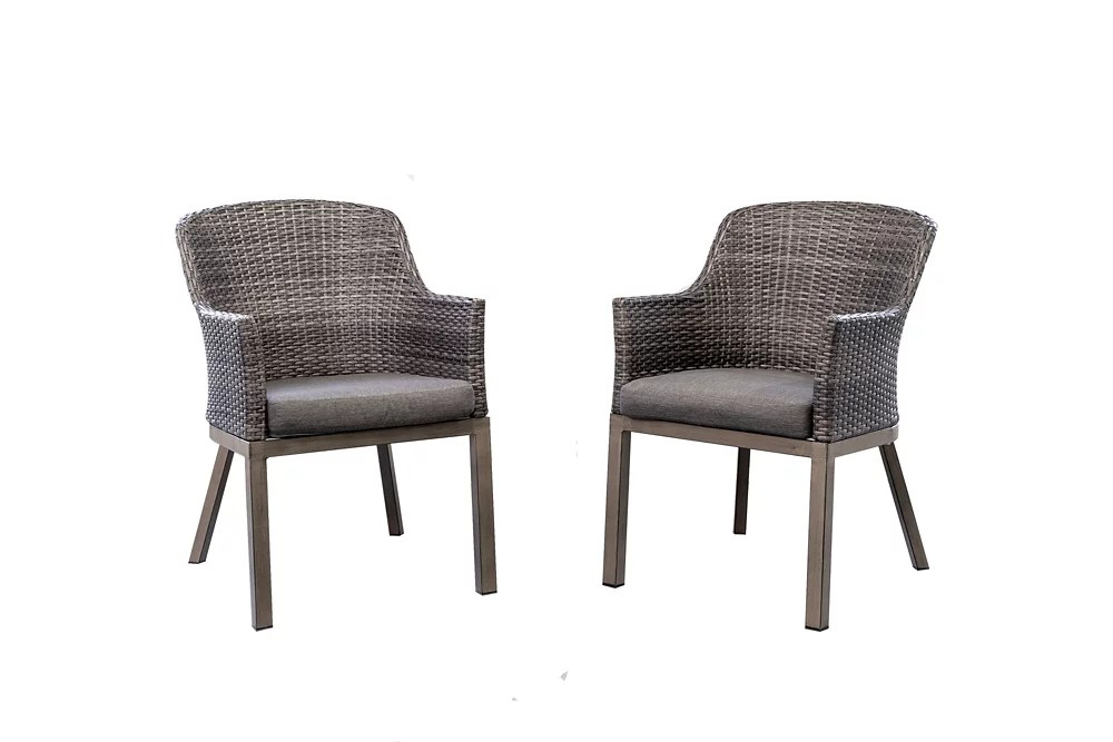 crown view wicker outdoor patio dining chair with grey seat pads 2 pack