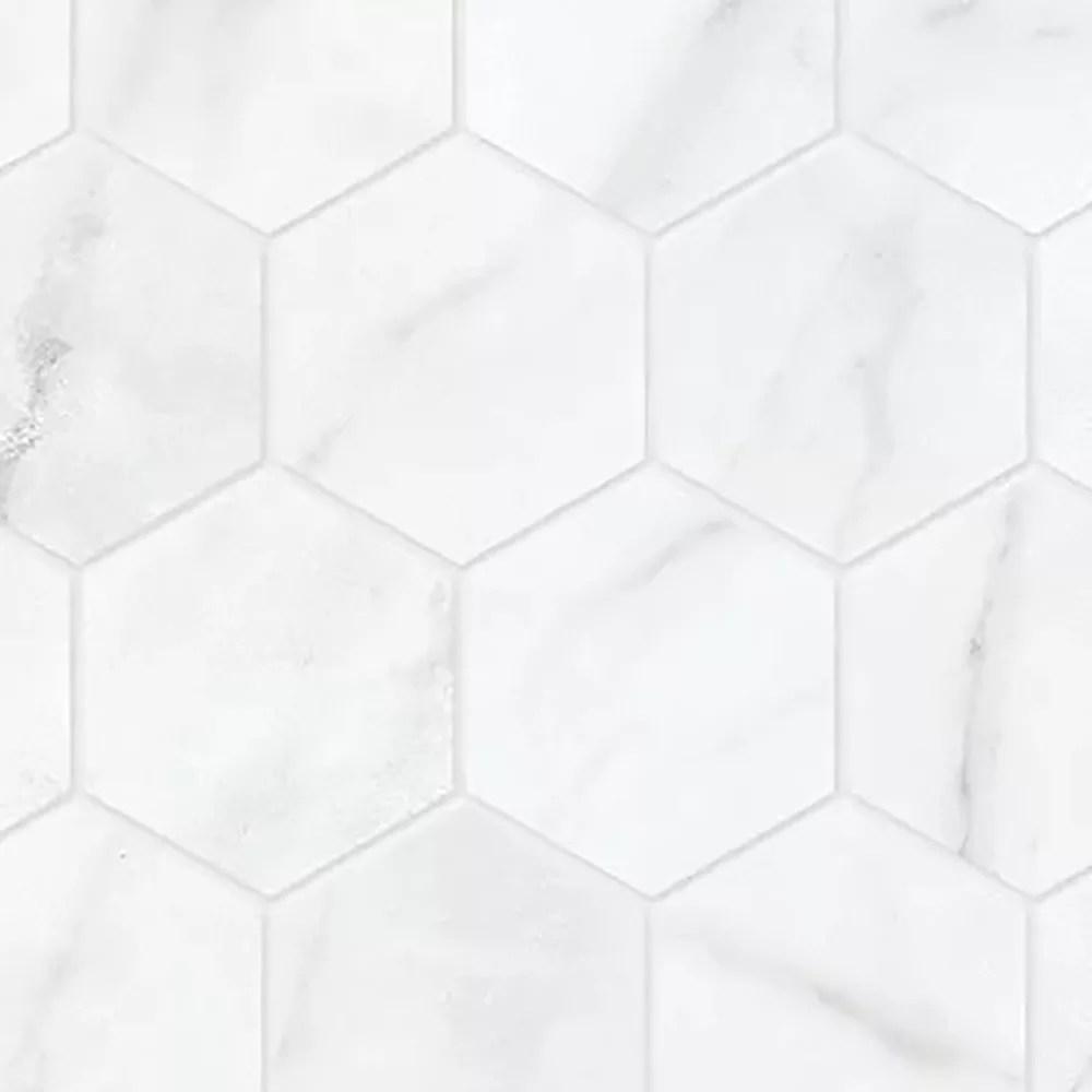 carrara nevoso 2 inch hd matte hexagon porcelain mosaic tile